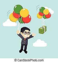 homme affaires, balloon, voler