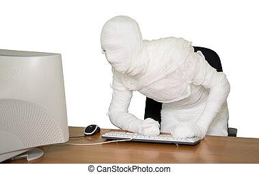 homme affaires, bandé, lieu travail, bureau