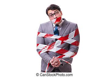 homme affaires, bande blanche, isolé, attaché