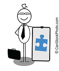 homme affaires, bannière, coopération