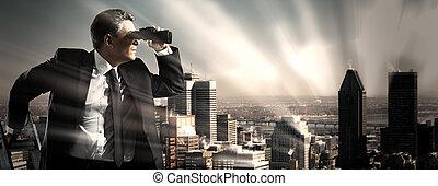 homme affaires, binoculars.