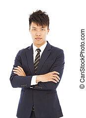 homme affaires, blanc, asiatique, jeune, isolé