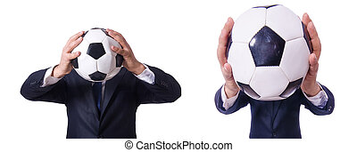 homme affaires, blanc, football