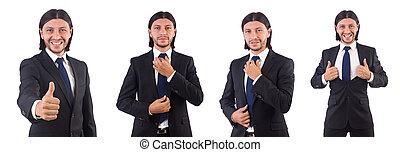 homme affaires, blanc, jeune, fond, isolé