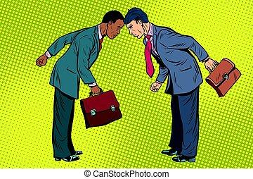 homme affaires, blanc, noir, conflit
