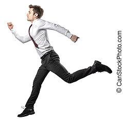 homme affaires, blanc, sauter