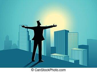 homme affaires, bord, bâtiment, debout