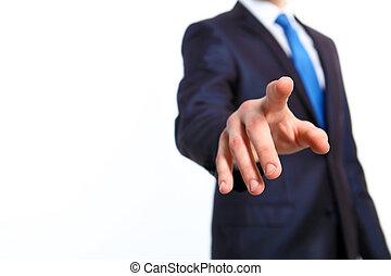homme affaires, bouton, sien, doigt, pousser