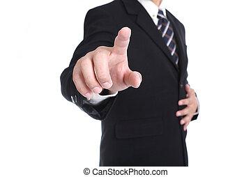homme affaires, bouton, toucher