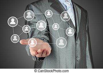 homme affaires, boutons, social, virtuel, média