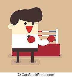 homme affaires, boxe