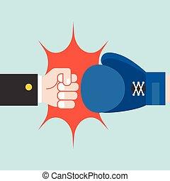 homme affaires, boxe, combat, gant