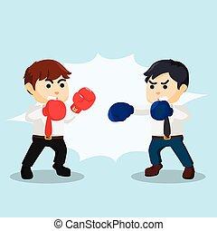homme affaires, boxe, combat