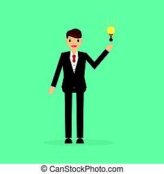 homme affaires, bulb., idée, grand, lumière, avoir, concept