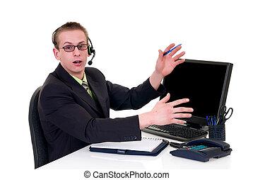 homme affaires, bureau, accentué