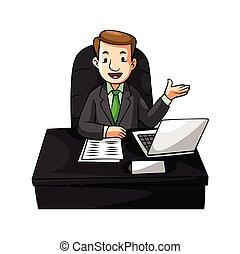 homme affaires, bureau, dessin animé