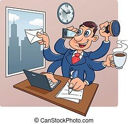 homme affaires, bureau occupé