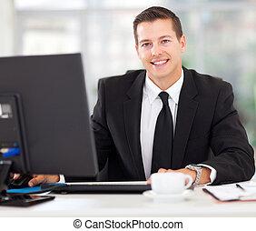 homme affaires, bureau, séance