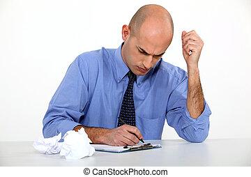 homme affaires, bureau, sien, écriture créative