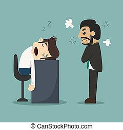 homme affaires, bureau, sien, bureau, dormir