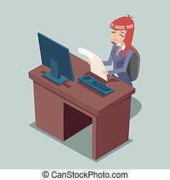 homme affaires, bureau, travailler ordinateur, dessin animé, caractères, icône, retro, conception, vecteur, illustration