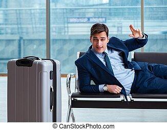 homme affaires, business, aéroport, avion, attente, cla, ...