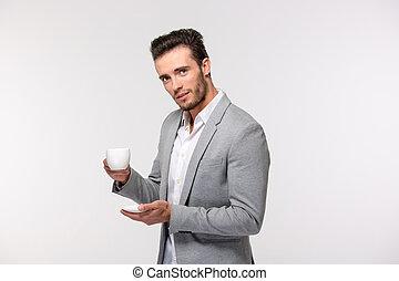 homme affaires, café, beau, avoirs entourent