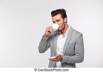 homme affaires, café, boire, portrait