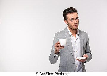 homme affaires, café buvant, heureux