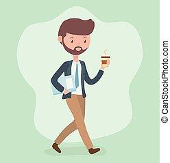 homme affaires, café, caractère, jeune, marche