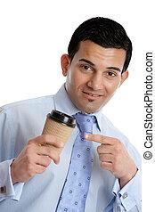 homme affaires, café, plat à emporter