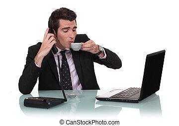 homme affaires, café, sien, avoir, bureau