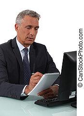 homme affaires, cahier, écriture
