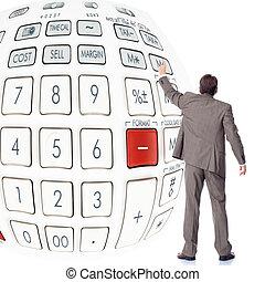 homme affaires, calculator.