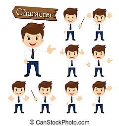 homme affaires, caractère, ensemble, vecteur, illustration