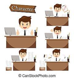 homme affaires, caractère, sur, bureau, ensemble, vecteur