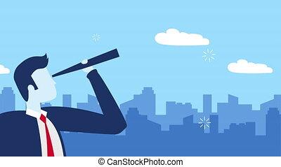 homme affaires, caractère, télescope, ouvrier
