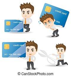 homme affaires, carte, crédit