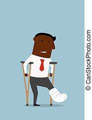 homme affaires, cassé, noir, jambe