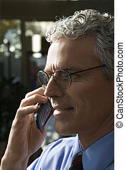 homme affaires, cellphone.