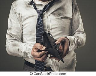 homme affaires, chômeur, portefeuille vide