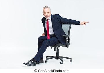 homme affaires, chaise, bureau