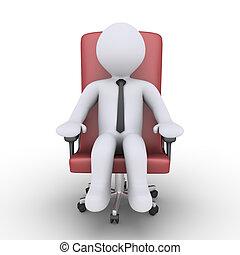 homme affaires, chaise, délassant