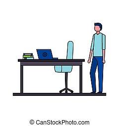 homme affaires, chaise, informatique, bureau bureau