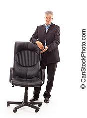 homme affaires, chaise, isolé
