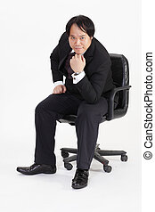 homme affaires, chaise, isolé, séance