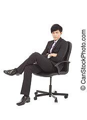 homme affaires, chaise, jeune, séance