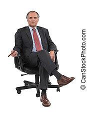 homme affaires, chaise pivotante, séance
