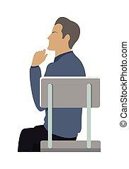 homme affaires, chaise, vue, côté, séance