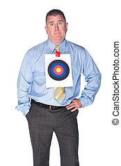homme affaires, chemise, oeil, cible, taureaux